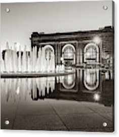 Bloch Fountain At Union Station - Downtown Kansas City Sepia Acrylic Print by Gregory Ballos