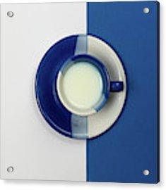 Blue And White Coffee Mug With Fresh Milk Acrylic Print by Michalakis Ppalis