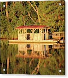 Boat Dock At Sunrise Acrylic Print by Cynthia Guinn