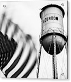 Bourbon Water Tower Usa Vintage - 1x1 Monochrome Acrylic Print by Gregory Ballos