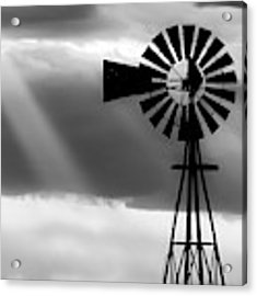 Bw Windmill And Crepuscular Rays -01 Acrylic Print by Rob Graham