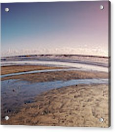 Carlsbad Low Tide Red Blue Sky Acrylic Print by Alison Frank