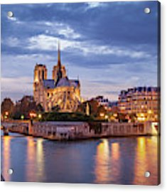 Cathedral Notre Dame And River Seine Acrylic Print by Brian Jannsen