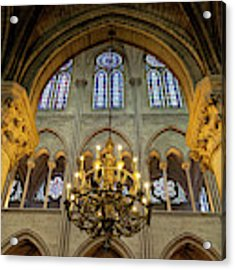 Cathedral Notre Dame Chandelier Acrylic Print by Brian Jannsen