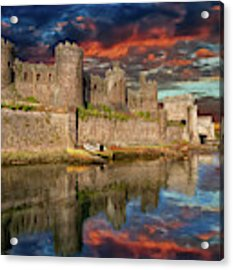 Conwy Castle Sunset Acrylic Print by Adrian Evans