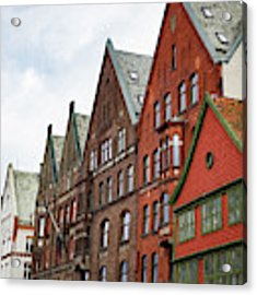 Crooked Buildings Of Bergen Norway In Europe Acrylic Print by Whitney Leigh Carlson
