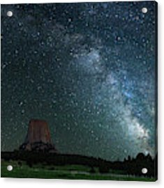 Devil's Tower At Night Acrylic Print by Gary Lengyel