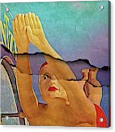 Diving Girl Ripped Acrylic Print by Alice Gipson