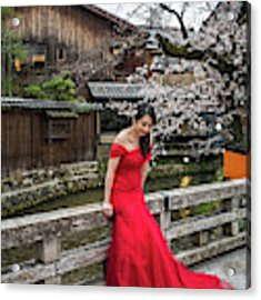 Elegance In Red Acrylic Print by Eva Lechner