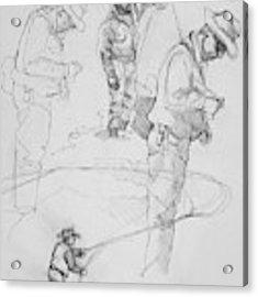 Fly Fisherman Sketch Acrylic Print by Jani Freimann