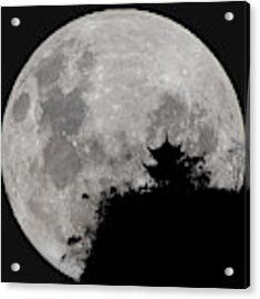 Full Moon Behind Clifftop Gazebo In Chengdu China Acrylic Print by William Dickman