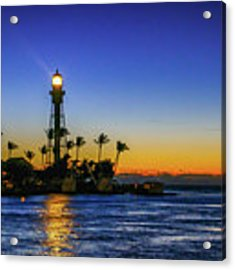 Golden Lighthouse Reflection Acrylic Print by Tom Claud