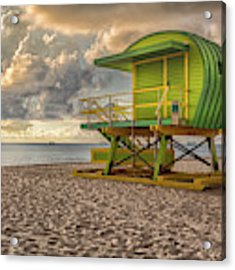 Green Lifeguard Stand Acrylic Print by Alison Frank