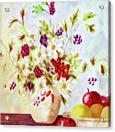Harvest Time-still Life Painting By V.kelly Acrylic Print by Valerie Anne Kelly