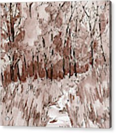 Inktober 2018 No 6 Sepia Nature Landscape Acrylic Print by David King