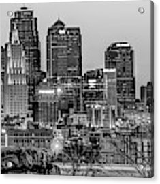 Kansas City Skyline At Dawn - Monochrome Acrylic Print by Gregory Ballos