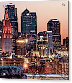 Kansas City Skyline At Red Dawn Acrylic Print by Gregory Ballos