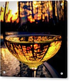 Sunset In A Glass Acrylic Print by Atousa Raissyan