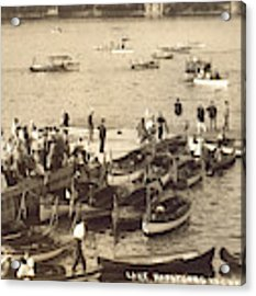 Lake Hopatcong Yacht Club Dock - 1910 Acrylic Print by Mark Miller