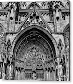 Lincoln Cathedral Side Entrance Monochrome Acrylic Print by Scott Lyons