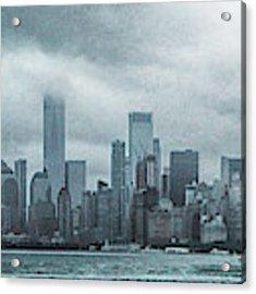 Lower Manhattan Panorama Acrylic Print by Judy Hall-Folde
