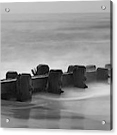 Misty Beach Morning - Signed Black And White Panoramic Version Acrylic Print by Mark Miller