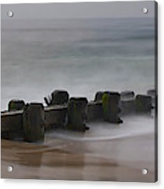 Misty Beach Morning - Signed Color Panoramic Version Acrylic Print by Mark Miller