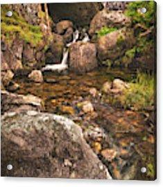 Nant Gaws Waterfall And Old Stone Bridge Acrylic Print by Elliott Coleman