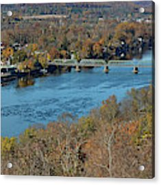 New Hope Pa From On High Acrylic Print by William Jobes