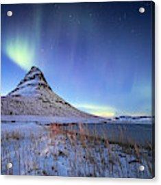 Northern Lights Atop Kirkjufell Iceland Acrylic Print by Nathan Bush