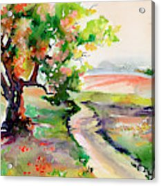 Oak Tree Landscape Path Home  Acrylic Print by Ginette Callaway