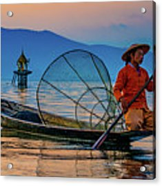 On Inle Lake Acrylic Print by Chris Lord