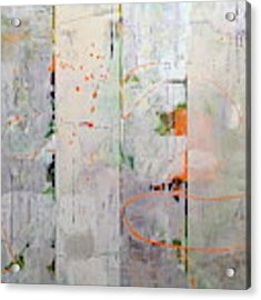 Orange Lines With Grey Acrylic Print by Michelle Calkins