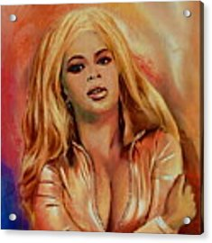 Original Fine Art Multimedia Painting Beyonce In Gold Acrylic Print by G Linsenmayer