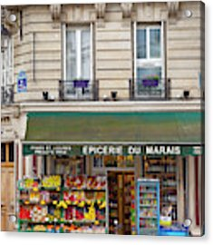 Paris Corner Grocery Acrylic Print by Brian Jannsen