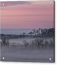 Pink Misty Morning #3 - Misty Field Acrylic Print by Patti Deters