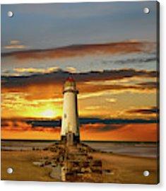 Point Of Ayr Lighthouse Sunset Acrylic Print by Adrian Evans
