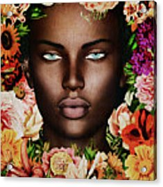 Portrait Of African Woman Surrounded With Flowers Acrylic Print by Jan Keteleer