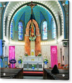 Praying At The Immaculate Heart Of Mary Church - San Antonio - Painted Church Acrylic Print by Jason Politte
