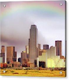 Rainbow Over Downtown Dallas - Dallas Skyline - Texas Acrylic Print by Jason Politte