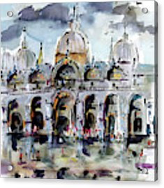 Rainy Day In Venice Piazza San Marco Acrylic Print by Ginette Callaway