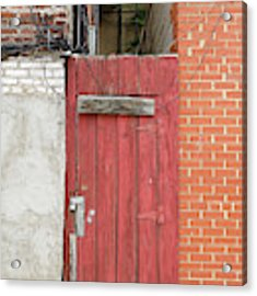 Red Alley Door Chinatown Washington Dc Acrylic Print by Edward Fielding