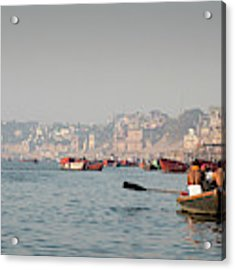 Religious River Of Ganges In India Acrylic Print by Michalakis Ppalis