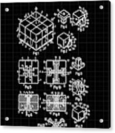 Rubik's Cube Patent 1983 - Black And White Acrylic Print by Marianna Mills