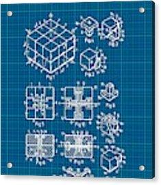 Rubik's Cube Patent 1983 - Blueprint Acrylic Print by Marianna Mills