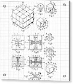 Rubik's Cube Patent 1983 Acrylic Print by Marianna Mills