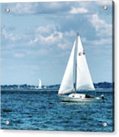 Sailing Along The Tisbury Coast Acrylic Print by Mark Miller