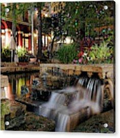 San Antonio Riverwalk Waterfall - Christmas - Texas Acrylic Print by Jason Politte