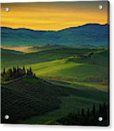 San Quirico D' Orcia At Sunrise Acrylic Print by Chris Lord