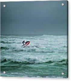 Shooting The Surf Acrylic Print by Judy Hall-Folde
